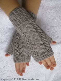 Митенки вязаные Французская коса - ажурные перчатки,варежки вязаные,варежки
