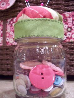 What to do with all those buttons that come attached to your kids' clothes? Store them in baby food jars and use this tutorial to create a cute pincushion on top! Source: The Life of Jennifer Dawn