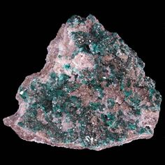 Dioptase, calcite on matrix from Tsumeb Mine, Namibia