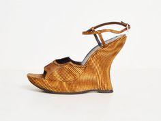 ce2b711f978 Vintage 90s Tie-Dye Striped PRADA Platform Wedges   Brown Chunky Heel  Platform Sandals 1990s
