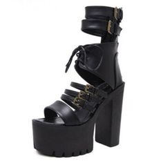 346e41a1e97a8 2019 Vintage Punk Rock Gothic Sandals Women Thick Platform Square Chunky  Block High Heels Gladiator Sandals Lady Buckle Shoes