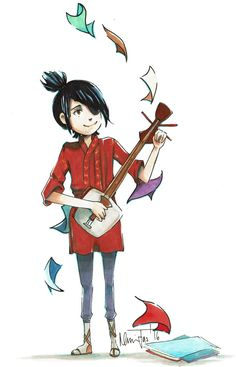 Kubo and his magic of paper with his shamisen from Kubo and the Two Strings