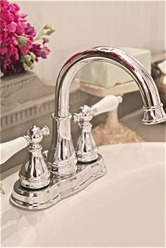 chrome and white faucet- French Country Cottage, French Country Decorating, Cottage Style, Coral Bathroom Decor, Bathroom Ideas, Lowes Bathroom, Bath Ideas, Small Bathroom, Shabby Chic Kitchen