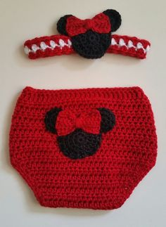 Gift Set Girl Mouse Diaper Cover & Headband  Red 12 Mos