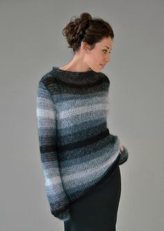 Dark - ladies funnel neck striped sweater from Still. Designed by Kim Hargreaves using Kidsilk Haze (mohair and silk) yarn, this knitting pattern is suitable for the knitter with a little experience. Knitting Patterns Free, Knit Patterns, Clothing Patterns, Hand Knitting, Rowan Yarn, Knit Fashion, Stella Dot, Knitwear, Knit Crochet