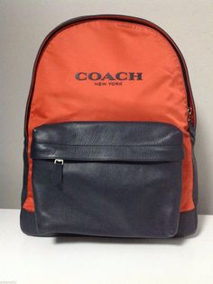 2fa3b3685c072b Coach Campus Nylon and Leather Backpack in Coral/Navy F71674 Рюкзаки, Сірий  Колір,