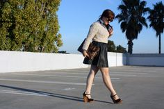 Knitted sweater and leather skirt!