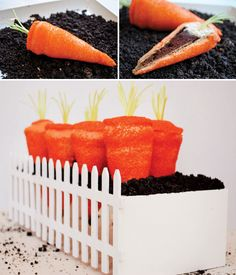 OMG!!! Carrot shaped cupcakes, baked in a waffle cone then stuck in dirt pudding.