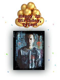 """""""I nearly forgot! Happy Bday Tyler!"""" by adele-h-pocketbook ❤ liked on Polyvore featuring art, birthday and twentyonepilots"""