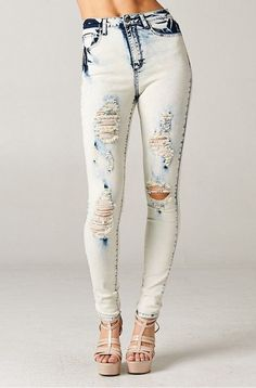 PLUS Size White Acid Wash High Rise Destroyed Jeans SKINNY Vintage Ripped DENIM #CelloJeans #SlimSkinny