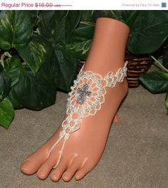 New Crochet Lace Cross Barefoot Sandals by gilmoreproducts33, $14.40