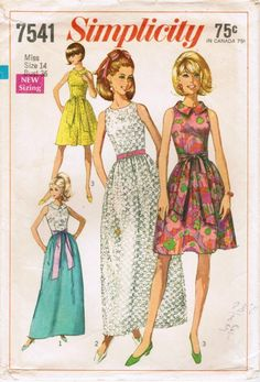 1968 Simplicity 7541 Sewing Pattern Misses' Dress in 2 Lengths