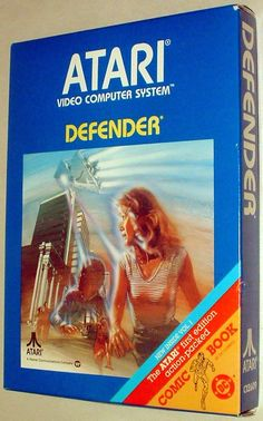 1980s Atari 2600 Defender - Video Game Cartridge - including action-packed DC comic-book!