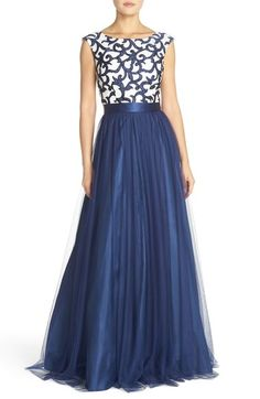 Aidan Mattox Satin Appliqué & Mesh Ballgown available at Mother Of Groom Dresses, Formal Dresses For Women, Kitenge, Bridesmaid Dresses, Wedding Dresses, Nordstrom Dresses, Look Fashion, Pretty Dresses, Beautiful Outfits