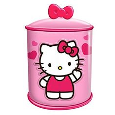 Vandor 18141 Hello Kitty Cupcake Ceramic Cylinder Cookie Jar, Pink and White
