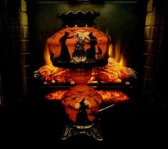 VINTAGE WITCHES*HAUNTED HOUSE CLAW FOOTED HURRICANE RUFFLE TOP 3 WAY TABLE LAMP