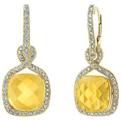 Jewelrypopupshop.com Pre-owned Stunning Citrine & Diamond Earrings In... (19 400 ZAR) ❤ liked on Polyvore featuring jewelry, earrings, accessories, yellow, cushion cut earrings, womens jewellery, 14k earrings, 14k yellow gold earrings and citrine earrings