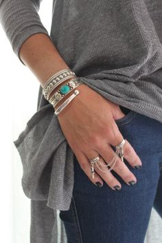 Two Silver Finger Ring chain drape ANKH Egyptian sign Charm Bohemian vintage Hippie Gypsy Slave ring handmade by Inali