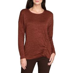 Nic+Zoe Women's Side Ruched Long-Sleeve Sweater ($118) ❤ liked on Polyvore featuring tops, sweaters, brandy, long sleeve tops, gathered top, ruched long sleeve top, nic zoe sweater and brown top