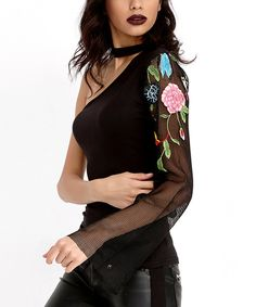 Take a look at this Bambina Mia Black Floral One-Shoulder Top today!