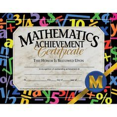 Printer-Compatible Certificates & Awards, Math Achievement Certificate, HVA581