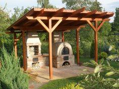 Wooden Gazebo, Gazebo Pergola, Covered Pergola, Pergola Kits, Garden Structures, Outdoor Structures, Barbecue, Bbq Wood, Outdoor Oven