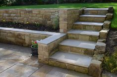 garden steps: one side with a wall, one side with a natural slope (for large stones) - switch sides though.