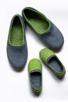 Matching father son slippers - 2 pair natural Felted wool slippers Family gift set for Father Daddy Mother Mom Mommy Baby Toddler Youth $119.00