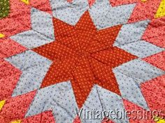 """C. 1860 - 1880 Blazing Star Quilt, Overdyed Green calico Turkey Red Chrome Yellow Pinks and Lancaster Blue. Measures 86"""" x 86"""", quilting is 5 stitches to the  inch, monogram """"A"""" hidden in the border. Ebay price is $995."""