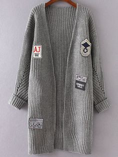 Grey Patch Detail Collarless Rolled Cuff Cardigan Mobile Site