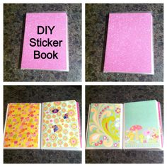 DIY sticker book I made for my daughter. She loves stickers, and had no where to put them all once we took them off the sticker sheet. :) Small photo album found at Walmart for $1, scrapbook paper cut to fit and put inside photo holders, and then taped on top to keep paper in. Instant cheap DIY sticker book! Most stickers can also be unstuck and reapplied to other pages. :)