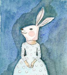 Girl Bunny Rabbit SMALL print of original by IrenaSophia on Etsy