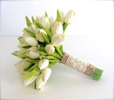 WHITE WEDDING BOUQUET White Tulip Wedding by AdoredOccasions #weddingbouquets