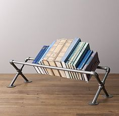 Industrial Pipe Tabletop Book Storage - Large - Could be constructed with Kee Klamp