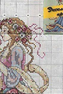 Punto de Cruz GRATIS: Dama de las Rosas