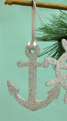 3 Anchor Christmas Ornaments - Glittered Anchor from SeashellCollection on Etsy. Saved to christmas tree perf. Coastal Christmas Decor, Nautical Christmas, Beach Christmas, Christmas Makes, All Things Christmas, Christmas Holidays, Christmas Ornaments, Purple Christmas, Glitter Ornaments