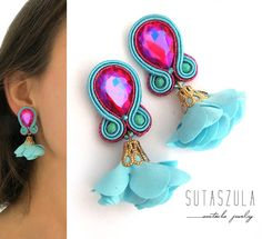 Soutache jewelry: earrings, necklaces and bracelets by sutaszula Tassel Jewelry, Fabric Jewelry, Funky Jewelry, Pink Turquoise, Turquoise Earrings, Soutache Earrings, Crystal Earrings, Earrings Handmade, Handmade Jewelry