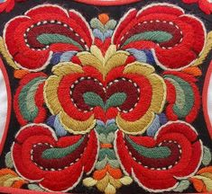 Kim Marie's Embroidery — Beautiful examples of Norwegian embroidery. Basic Embroidery Stitches, Folk Embroidery, Embroidery Patterns, Wool Applique, Pattern Books, Textile Design, Fiber Art, Needlepoint, Needlework