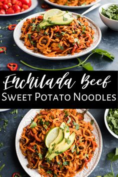 These Enchilada Beef Sweet Potato Noodles are a simple and healthy recipe that's also Whole30. It comes together quickly and is packed with enchilada flavor. We love this one with ground beef, but chicken is really tasty with the enchilada flavor too. Top with some avocado and a lime wedge and you have a gluten free and dairy free dinner the whole family will love! #sweetpotato #sweetpotatonoodles #healthy #whole30 #paleo #glutenfree #dairyfree Whole30 Dinner Recipes, Paleo Dinner, Paleo Recipes, Asian Recipes, Real Food Recipes, Ethnic Recipes, Sweet Potato Noodles, Veggie Noodles, Dairy Free
