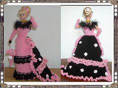 de Tilique Mode Crochet, Knit Crochet, Crochet Pattern, Barbie Dress, Crochet Fashion, Fashion Dolls, Creations, Dresses With Sleeves, Gowns