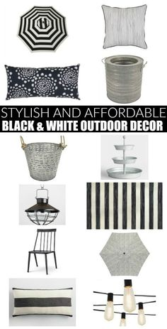 DIY home decor projects : Stylish and Affordable Black and White Outdoor Decor. -Read More – White Deck, White Porch, White Pergola, Adirondack Furniture, Pergola Attached To House, Deck Decorating, Diy Home Decor Projects, Outdoor Projects, Decor Ideas