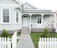 Take a final tour through The Block NZ villas – Exterior Bungalow Exterior, Bungalow Renovation, Cottage Exterior, House Paint Exterior, Exterior Paint Colors, Exterior House Colors, Exterior Design, Paint Colours, House Cladding