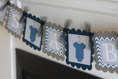 Navy Blue and Grey Chevron  Mommy to Be Its a by DreamPartyPaperie,