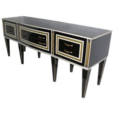 Early 1950s Art Deco Style Italian, Black Glass Sideboard with Bronze Insets | From a unique collection of antique and modern sideboards at https://www.1stdibs.com/furniture/storage-case-pieces/sideboards/