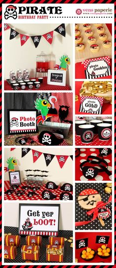 Red Pirate Birthday Party decoration (www.venspaperie.com)