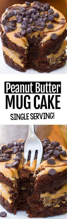 EASY Vegan Chocolate Peanut Butter Mug Cake Recipe #vegan #glutenfree #easy #healthy #health #chocolate