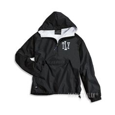 Monogrammed Pullover Rain Jacket ($48) ❤ liked on Polyvore featuring outerwear, jackets, monogrammed pullover, monogrammed pullover jacket, pullover rain jacket, monogram jackets and monogrammed rain jacket