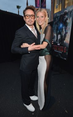 Actors Robert Downey Jr. and Gwyneth Paltrow attend Marvel's' Iron Man 3 Premiere at the El Capitan Theatre on April 24, 2013 in Hollywood, California.  http://marvel.com/ironman3live