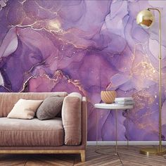 Peel and Stick Purple Gold Abstract Watercolor Wallpaper Mural Removable Large Wall Mural Self Adhes