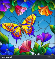 Illustration in stained glass style with bright butterfly against the sky, foliage and flowers